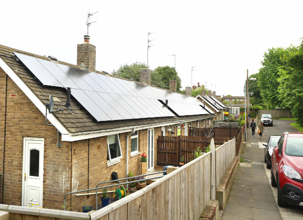 The Enphase system allowed Saving Energy to install some sites as  one array on terraced rooftops and share the system sizes equally.