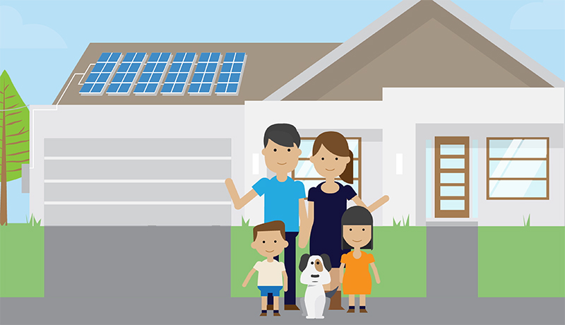 Animated neighbors standing in front of home with solar panels on roof