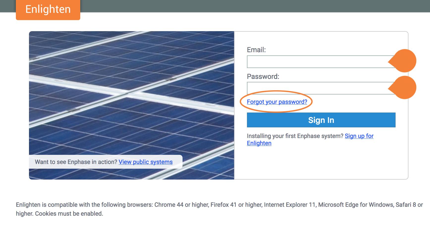 Enlighten Login page on enlighten.enphaseenergy.com