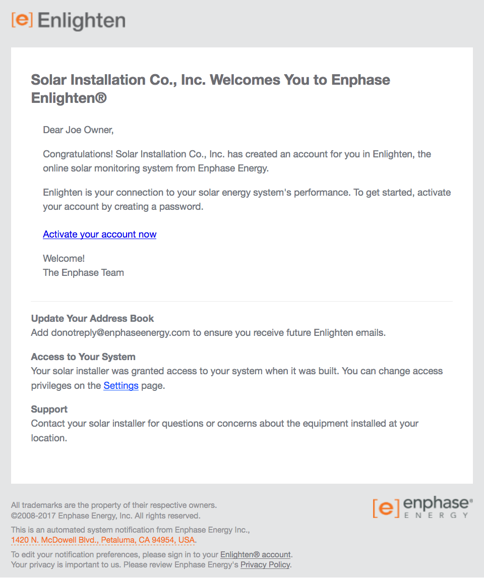 Screenshot of welcome email from MyEnlighten software