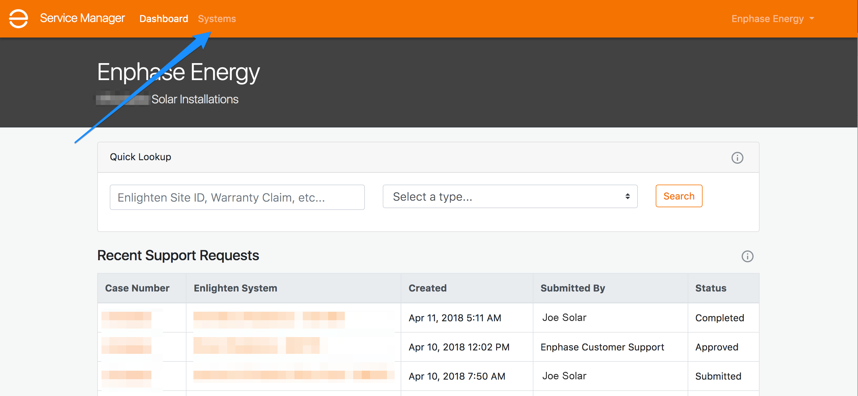 Service Manager dashboard - systems nav item