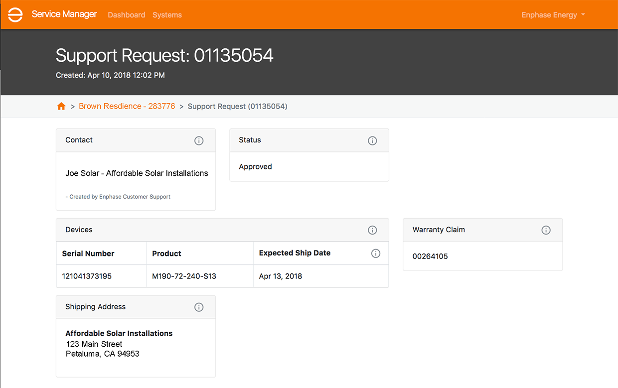 Service Manager - warranty status screen