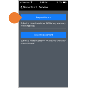 Service-on-the-Go Installer Toolkit request return button