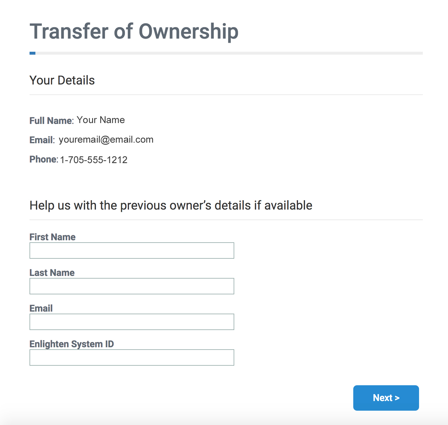 Transfer Ownership Landing Page