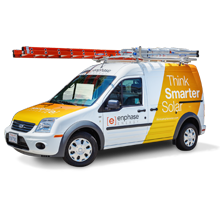 Image of solar installer truck with ladder