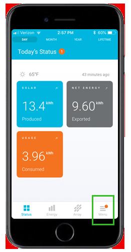 Enlighten mobile status screen