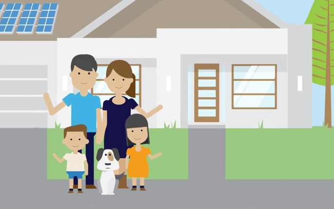 Animated family standing in front of home with solar panels on roof