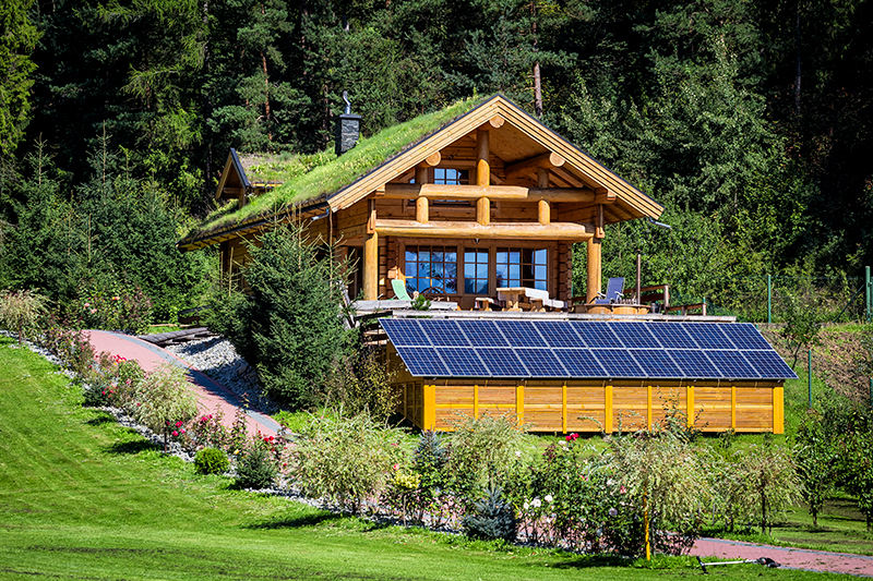 Sunny cabin with solar panels