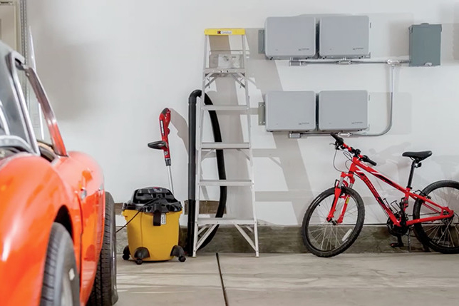 Garage with Enphase AC Batteries on the wall